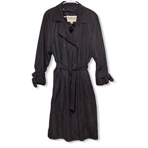 Town by London Fog Duster Trench Coat Black